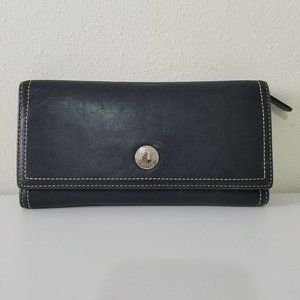 Coach Trifold Leather Wallet With Checkbook